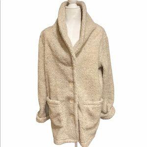 WinterSilks Ivory 3/4 Long Teddy Sherpa Coat